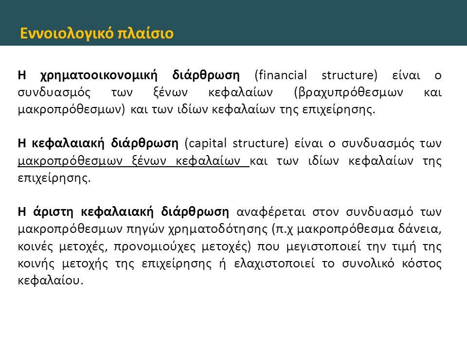 Εννοιολογικό πλαίσιο Η χρηματοοικονομική διάρθρωση (financial structure) είναι ο συνδυασμός των ξένων κεφαλαίων (βραχυπρόθεσμων και μακροπρόθεσμων) κα