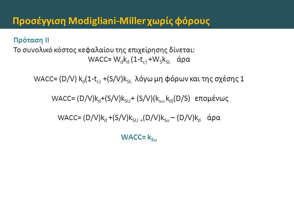 Προσέγγιση Modigliani-Miller χωρίς φόρους Πρόταση II Το συνολικό κόστος κεφαλαίου της επιχείρησης δίνεται: WACC= W d k d (1-t c) +W S k SL άρα WACC= (
