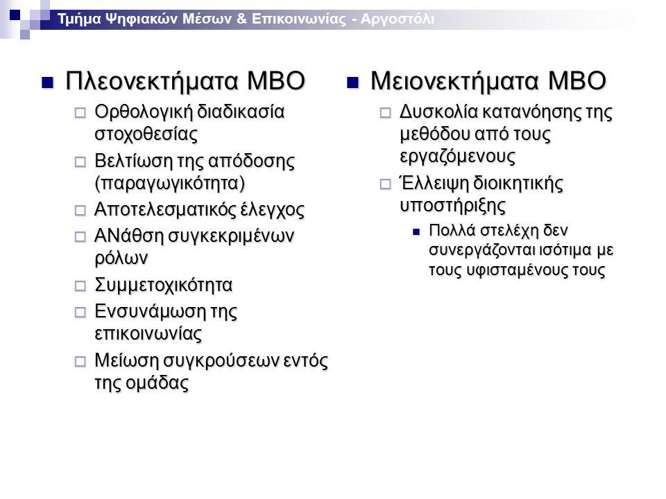 Μειονεκτήματα MBO Μειονεκτήματα MBO  Δυσκολία κατανόησης της μεθόδου από τους εργαζόμενους  Έλλειψη διοικητικής υποστήριξης Πολλά στελέχη δεν συνεργάζονται ισότιμα με τους υφισταμένους τους Πολλά στελέχη δεν συνεργάζονται ισότιμα με τους υφισταμένους τους Πλεονεκτήματα MBO Πλεονεκτήματα MBO  Ορθολογική διαδικασία στοχοθεσίας  Βελτίωση της απόδοσης (παραγωγικότητα)  Αποτελεσματικός έλεγχος  ΑΝάθση συγκεκριμένων ρόλων  Συμμετοχικότητα  Ενσυνάμωση της επικοινωνίας  Μείωση συγκρούσεων εντός της ομάδας Τμήμα Ψηφιακών Μέσων & Επικοινωνίας - Αργοστόλι
