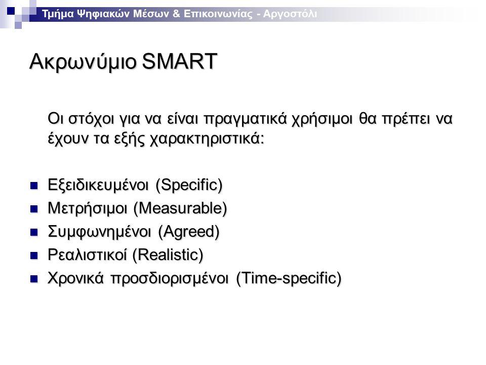 Ακρωνύμιο SMART Οι στόχοι για να είναι πραγματικά χρήσιμοι θα πρέπει να έχουν τα εξής χαρακτηριστικά: Εξειδικευμένοι (Specific) Εξειδικευμένοι (Specific) Μετρήσιμοι (Measurable) Μετρήσιμοι (Measurable) Συμφωνημένοι (Agreed) Συμφωνημένοι (Agreed) Ρεαλιστικοί (Realistic) Ρεαλιστικοί (Realistic) Χρονικά προσδιορισμένοι (Time-specific) Χρονικά προσδιορισμένοι (Time-specific) Τμήμα Ψηφιακών Μέσων & Επικοινωνίας - Αργοστόλι