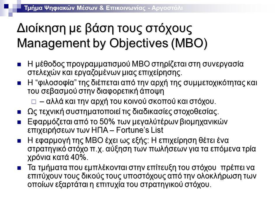 Διοίκηση με βάση τους στόχους Management by Objectives (ΜBO) Τμήμα Ψηφιακών Μέσων & Επικοινωνίας - Αργοστόλι Η μέθοδος προγραμματισμού ΜΒΟ στηρίζεται στη συνεργασία στελεχών και εργαζομένων μιας επιχείρησης.
