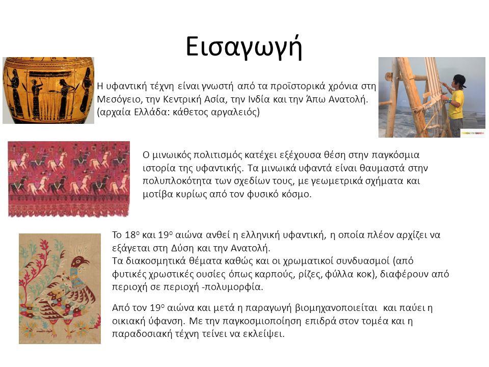 Εισαγωγή Η υφαντική τέχνη είναι γνωστή από τα προϊστορικά χρόνια στη Μεσόγειο, την Κεντρική Ασία, την Ινδία και την Άπω Ανατολή.