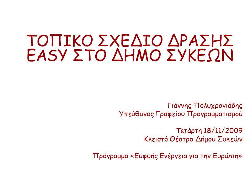 Το πλαίσιο Το πρόβλημα Κατανάλωση Ενέργειας και Δήμοι στην Ελλάδα