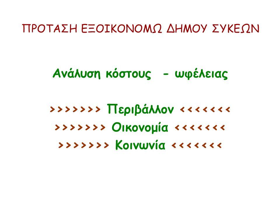 ΠΡΟΤΑΣΗ ΕΞΟΙΚΟΝΟΜΩ ΔΗΜΟΥ ΣΥΚΕΩΝ Ανάλυση κόστους - ωφέλειας >>>>>>> Περιβάλλον <<<<<<< >>>>>>> Οικονομία <<<<<<< >>>>>>> Κοινωνία <<<<<<<