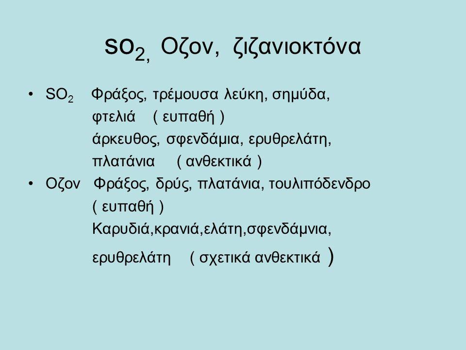 so 2, Οζον, ζιζανιοκτόνα SΟ 2 Φράξος, τρέμουσα λεύκη, σημύδα, φτελιά ( ευπαθή ) άρκευθος, σφενδάμια, ερυθρελάτη, πλατάνια ( ανθεκτικά ) Οζον Φράξος, δρύς, πλατάνια, τουλιπόδενδρο ( ευπαθή ) Καρυδιά,κρανιά,ελάτη,σφενδάμνια, ερυθρελάτη ( σχετικά ανθεκτικά )