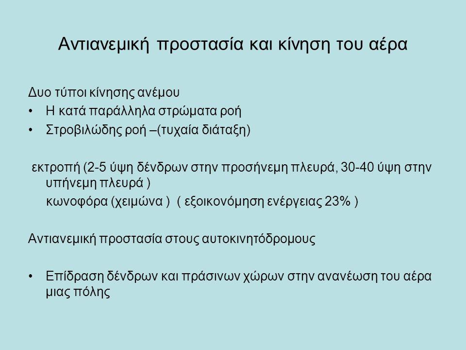 Αντιανεμική προστασία και κίνηση του αέρα Δυο τύποι κίνησης ανέμου Η κατά παράλληλα στρώματα ροή Στροβιλώδης ροή –(τυχαία διάταξη) εκτροπή (2-5 ύψη δένδρων στην προσήνεμη πλευρά, 30-40 ύψη στην υπήνεμη πλευρά ) κωνοφόρα (χειμώνα ) ( εξοικονόμηση ενέργειας 23% ) Αντιανεμική προστασία στους αυτοκινητόδρομους Επίδραση δένδρων και πράσινων χώρων στην ανανέωση του αέρα μιας πόλης