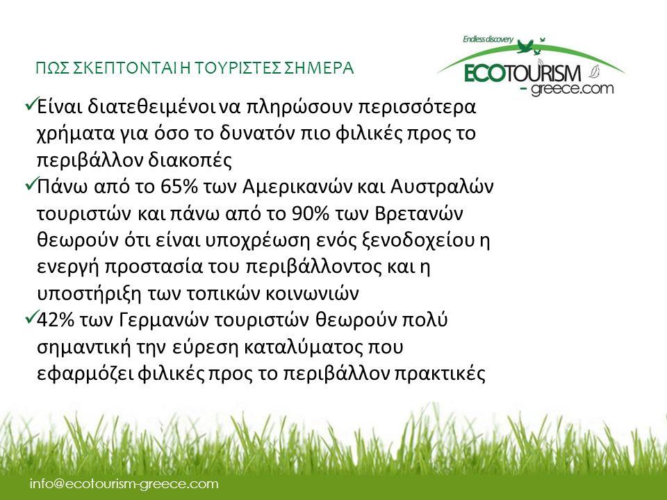 ΠΩΣ ΣΚΕΠΤΟΝΤΑΙ Η ΤΟΥΡΙΣΤΕΣ ΣΗΜΕΡΑ info@ecotourism-greece.com Eίναι διατεθειμένοι να πληρώσουν περισσότερα χρήματα για όσο το δυνατόν πιο φιλικές προς το περιβάλλον διακοπές Πάνω από το 65% των Αμερικανών και Αυστραλών τουριστών και πάνω από το 90% των Βρετανών θεωρούν ότι είναι υποχρέωση ενός ξενοδοχείου η ενεργή προστασία του περιβάλλοντος και η υποστήριξη των τοπικών κοινωνιών 42% των Γερμανών τουριστών θεωρούν πολύ σημαντική την εύρεση καταλύματος που εφαρμόζει φιλικές προς το περιβάλλον πρακτικές