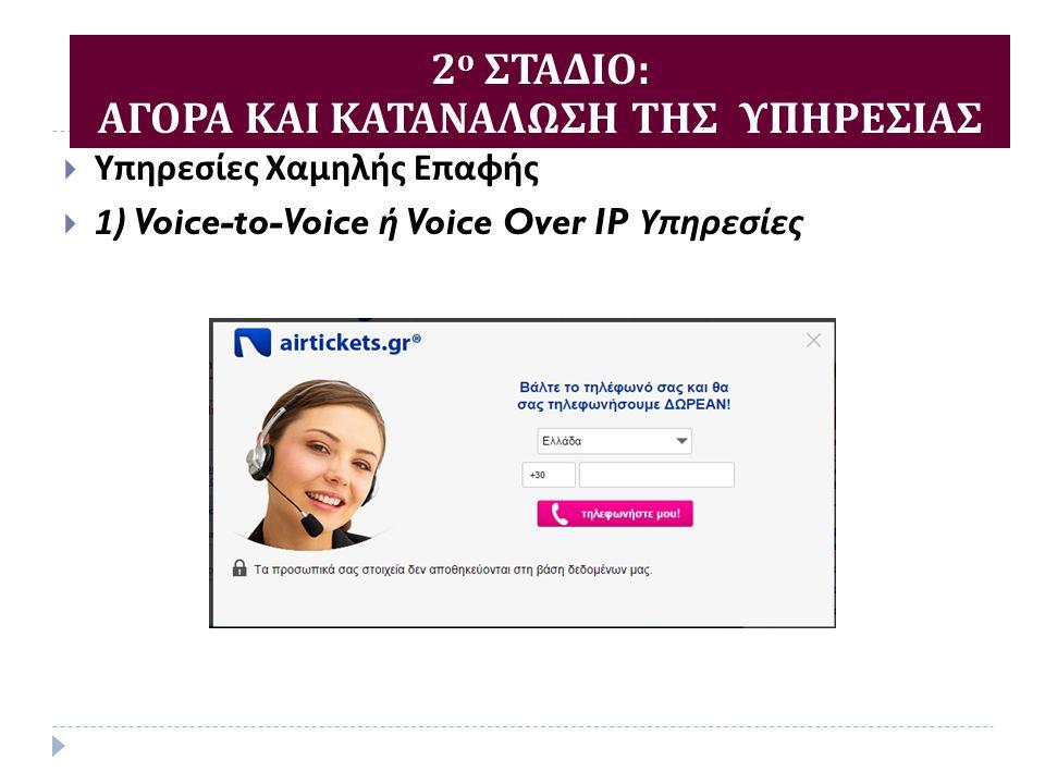  Υπηρεσίες Χαμηλής Επαφής  1) Voice-to-Voice ή Voice Over IP Υπηρεσίες 2 ο ΣΤΑΔΙΟ : ΑΓΟΡΑ ΚΑΙ ΚΑΤΑΝΑΛΩΣΗ ΤΗΣ ΥΠΗΡΕΣΙΑΣ