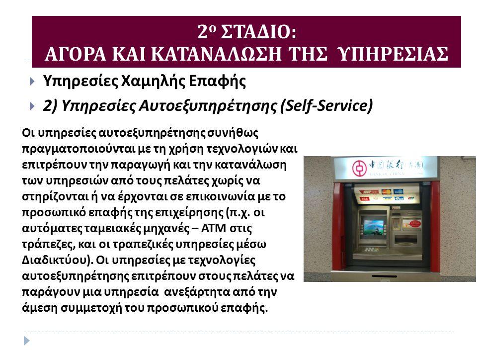  Υπηρεσίες Χαμηλής Επαφής  2) Υπηρεσίες Αυτοεξυπηρέτησης (Self-Service) 2 ο ΣΤΑΔΙΟ : ΑΓΟΡΑ ΚΑΙ ΚΑΤΑΝΑΛΩΣΗ ΤΗΣ ΥΠΗΡΕΣΙΑΣ Οι υπηρεσίες αυτοεξυπηρέτησης συνήθως πραγματοποιούνται με τη χρήση τεχνολογιών και επιτρέπουν την παραγωγή και την κατανάλωση των υπηρεσιών από τους πελάτες χωρίς να στηρίζονται ή να έρχονται σε επικοινωνία με το προσωπικό επαφής της επιχείρησης ( π.