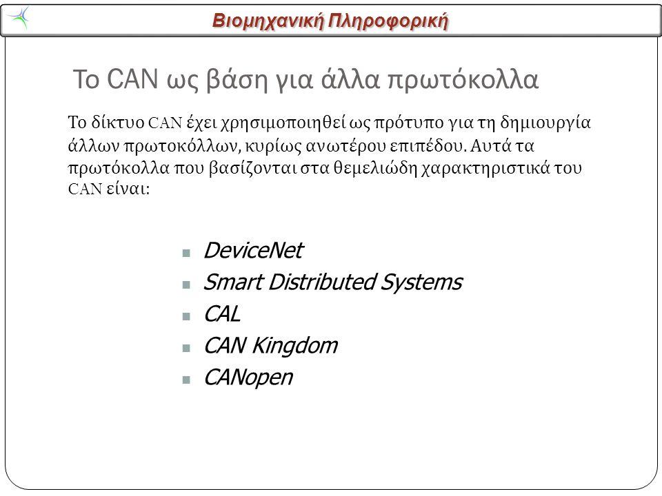 Βιομηχανική Πληροφορική Το CAN ως βάση για άλλα πρωτόκολλα 14 Το δίκτυο CAN έχει χρησιμοποιηθεί ως πρότυπο για τη δημιουργία άλλων πρωτοκόλλων, κυρίως ανωτέρου επιπέδου.