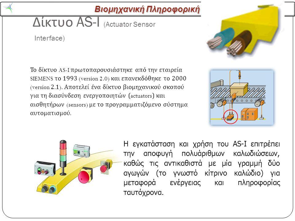 Βιομηχανική Πληροφορική Δίκτυο AS-I (Actuator Sensor Interface) 19 Το δίκτυο AS-I πρωτοπαρουσιάστηκε από την εταιρεία SIEMENS το 1993 (version 2.0) και επανεκδόθηκε το 2000 (version 2.1).