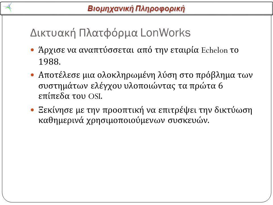 Βιομηχανική Πληροφορική Δικτυακή Πλατφόρμα LonWorks 2 Άρχισε να αναπτύσσεται από την εταιρία Echelon το 1988.