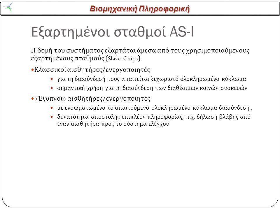 Βιομηχανική Πληροφορική Εξαρτημένοι σταθμοί AS-I 21 Η δομή του συστήματος εξαρτάται άμεσα από τους χρησιμοποιούμενους εξαρτημένους σταθμούς (Slave-Chips).