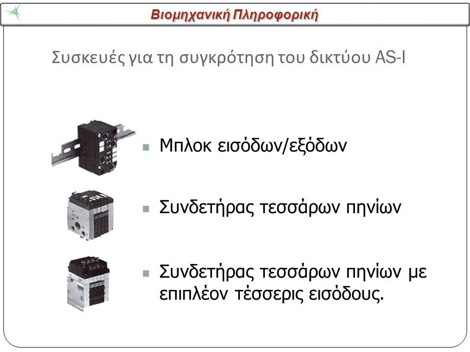 Βιομηχανική Πληροφορική Συσκευές για τη συγκρότηση του δικτύου AS-I 22 Μπλοκ εισόδων/εξόδων Συνδετήρας τεσσάρων πηνίων Συνδετήρας τεσσάρων πηνίων με επιπλέον τέσσερις εισόδους.