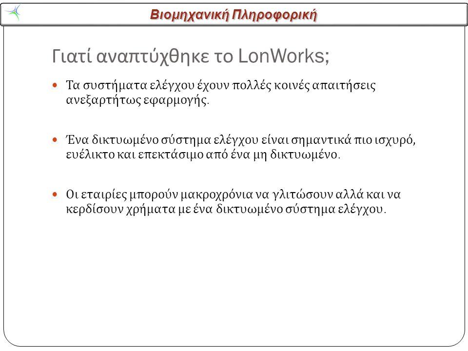 Βιομηχανική Πληροφορική Γιατί αναπτύχθηκε το LonWorks; 3 Τα συστήματα ελέγχου έχουν πολλές κοινές απαιτήσεις ανεξαρτήτως εφαρμογής.