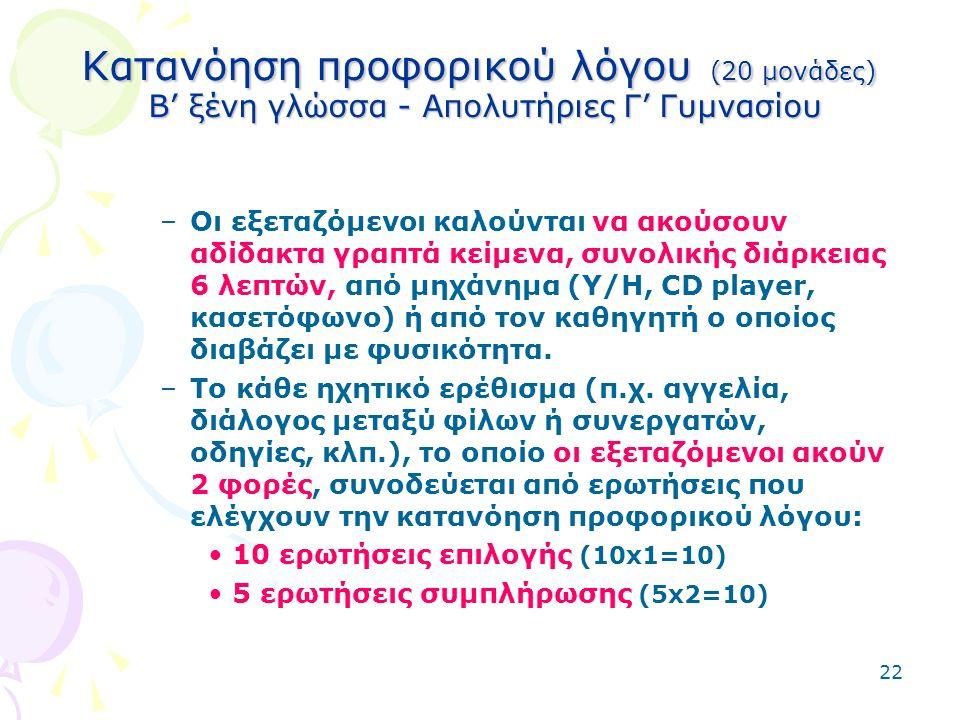 22 Κατανόηση προφορικού λόγου (20 μονάδες) Β' ξένη γλώσσα - Απολυτήριες Γ' Γυμνασίου –Οι εξεταζόμενοι καλούνται να ακούσουν αδίδακτα γραπτά κείμενα, συνολικής διάρκειας 6 λεπτών, από μηχάνημα (Υ/Η, CD player, κασετόφωνο) ή από τον καθηγητή ο οποίος διαβάζει με φυσικότητα.