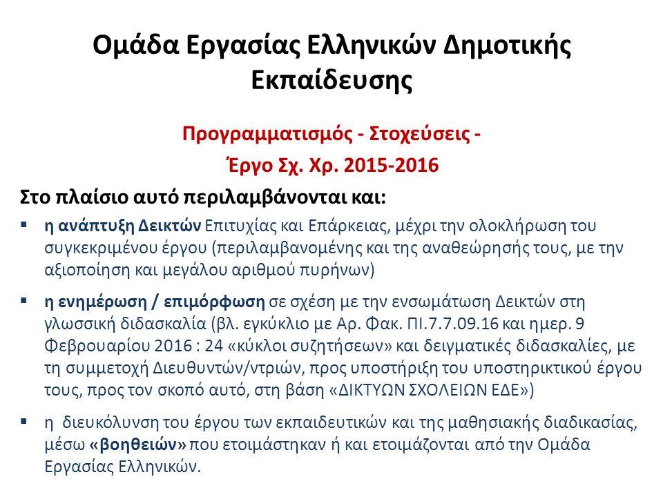 «BOHΘΕΙΕΣ» Συμβουλευτικό Έργο Ελληνικών Συμμετοχή μελών της Ομάδας Εργασίας Ελληνικών σε προγράμματα του ΠΙ, όπως: Σεμινάρια σε Σχολική Βάση, Πιλοτική Εφαρμογή της Ενιαίας Πολιτικής για την Επαγγελματική Μάθηση των Εκπαιδευτικών, Υποστήριξη Επαγγελματικής Μάθησης (Υ.Ε.Μ) των Εκπαιδευτικών  Κάθετες και οριζόντιες κλιμακώσεις Δεικτών, έτσι ώστε να φαίνεται και να κατανοείται σφαιρικά η «εξελικτική πορεία» τους  Ενσωμάτωση Δεικτών σε διδακτικές ενότητες, με την αξιοποίηση κειμένων εντός και εκτός του σχολικού εγχειριδίου [Ενδεικτική αντιστοίχιση Δεικτών Επιτυχίας και Δεικτών Επάρκειας με το περιεχόμενο (κείμενα και ασκήσεις) των σχολικών εγχειριδίων ή και με άλλα κείμενα, εκτός των σχολικών εγχειριδίων] (δείγματα για όλες τις τάξεις)  Διακειμενικές συνδέσεις για όλες τις τάξεις  Κατάλογος εργαλείων για κατανόηση και παραγωγή προφορικού και γραπτού λόγου όπου, ενδεικτικά, ενσωματώνονται δείκτες  Δείγματα αξιολόγησης μέσω των οποίων να μπορεί να αξιολογείται η εφαρμογή Δεικτών.