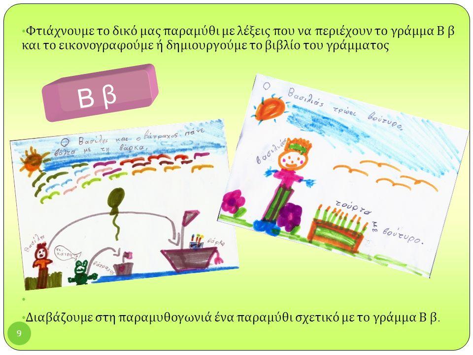 9 Φτιάχνουμε το δικό μας παραμύθι με λέξεις που να περιέχουν το γράμμα Β β και το εικονογραφούμε ή δημιουργούμε το βιβλίο του γράμματος Διαβάζουμε στη παραμυθογωνιά ένα παραμύθι σχετικό με το γράμμα Β β.