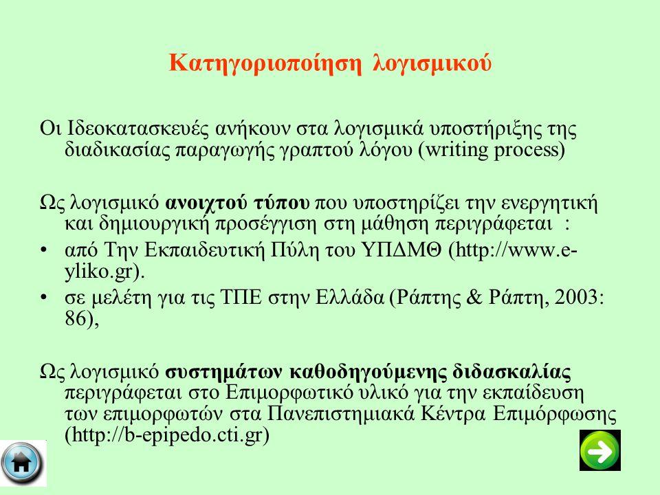 Κατηγοριοποίηση λογισμικού Οι Ιδεοκατασκευές ανήκουν στα λογισμικά υποστήριξης της διαδικασίας παραγωγής γραπτού λόγου (writing process) Ως λογισμικό ανοιχτού τύπου που υποστηρίζει την ενεργητική και δημιουργική προσέγγιση στη μάθηση περιγράφεται : από Την Εκπαιδευτική Πύλη του ΥΠΔΜΘ (http://www.e- yliko.gr).
