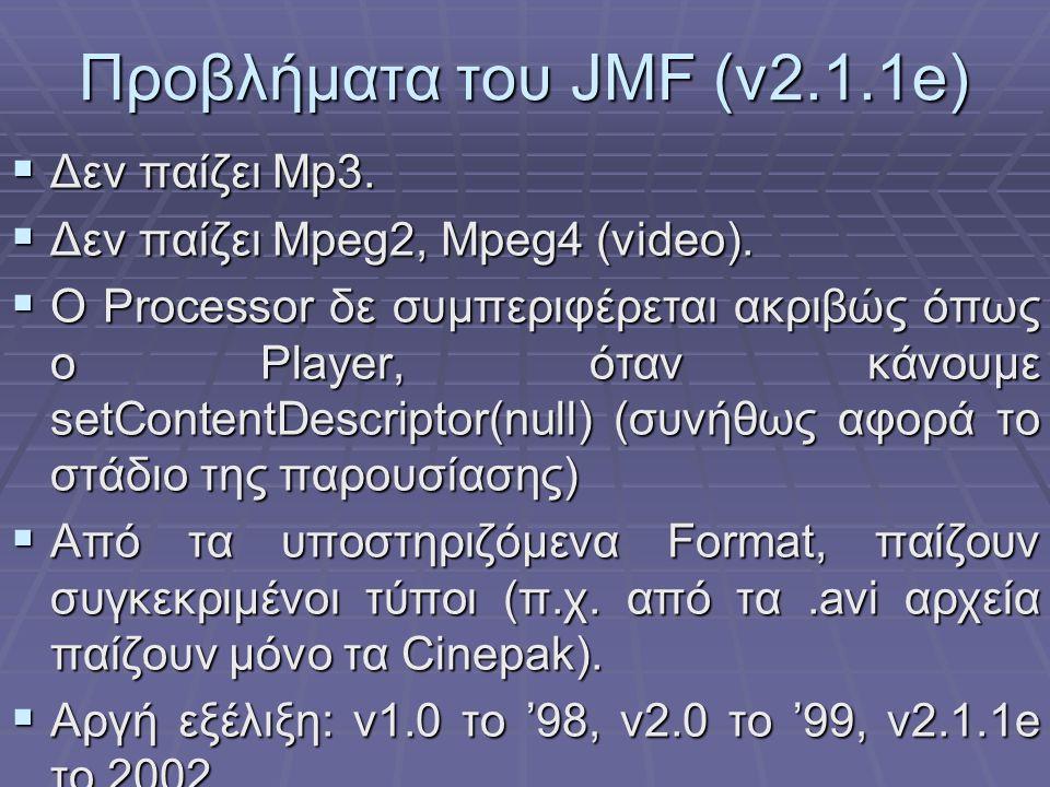 Προβλήματα του JMF (v2.1.1e)  Δεν παίζει Mp3. Δεν παίζει Mpeg2, Mpeg4 (video).