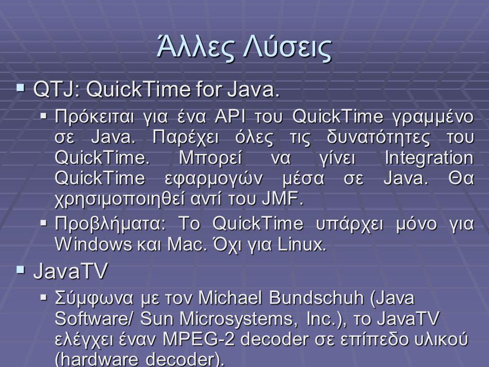 Άλλες Λύσεις  QTJ: QuickTime for Java. Πρόκειται για ένα API του QuickTime γραμμένο σε Java.
