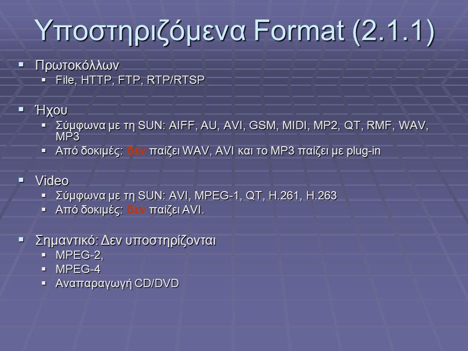 Υποστηριζόμενα Format (2.1.1)  Πρωτoκόλλων  File, HTTP, FTP, RTP/RTSP  Ήχου  Σύμφωνα με τη SUN: AIFF, AU, AVI, GSM, MIDI, MP2, QT, RMF, WAV, MP3  Από δοκιμές: παίζει WAV, AVI και το MP3 παίζει με plug-in  Από δοκιμές: δεν παίζει WAV, AVI και το MP3 παίζει με plug-in  Video  Σύμφωνα με τη SUN: AVI, MPEG-1, QT, H.261, H.263  Από δοκιμές: παίζει AVI.