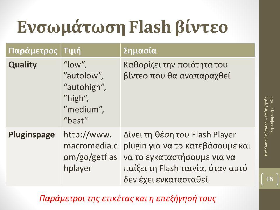 Ενσωμάτωση Flash βίντεο Βελώνης Γεώργιος - Καθηγητής Πληροφορικής ΠΕ20 18 ΠαράμετροςΤιμήΣημασία Quality low , autolow , autohigh , high , medium , best Καθορίζει την ποιότητα του βίντεο που θα αναπαραχθεί Pluginspage http://www.