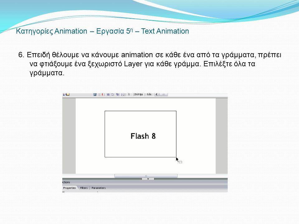 Κατηγορίες Animation – Εργασία 5 η – Text Animation 6. Επειδή θέλουμε να κάνουμε animation σε κάθε ένα από τα γράμματα, πρέπει να φτιάξουμε ένα ξεχωρι