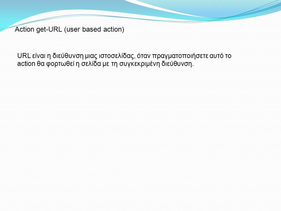 URL είναι η διεύθυνση μιας ιστοσελίδας, όταν πραγματοποιήσετε αυτό το action θα φορτωθεί η σελίδα με τη συγκεκριμένη διεύθυνση. Action get-URL (user b