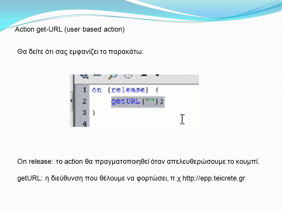 Θα δείτε ότι σας εμφανίζει το παρακάτω: On release: το action θα πραγματοποιηθεί όταν απελευθερώσουμε το κουμπί. getURL: η διεύθυνση που θέλουμε να φο