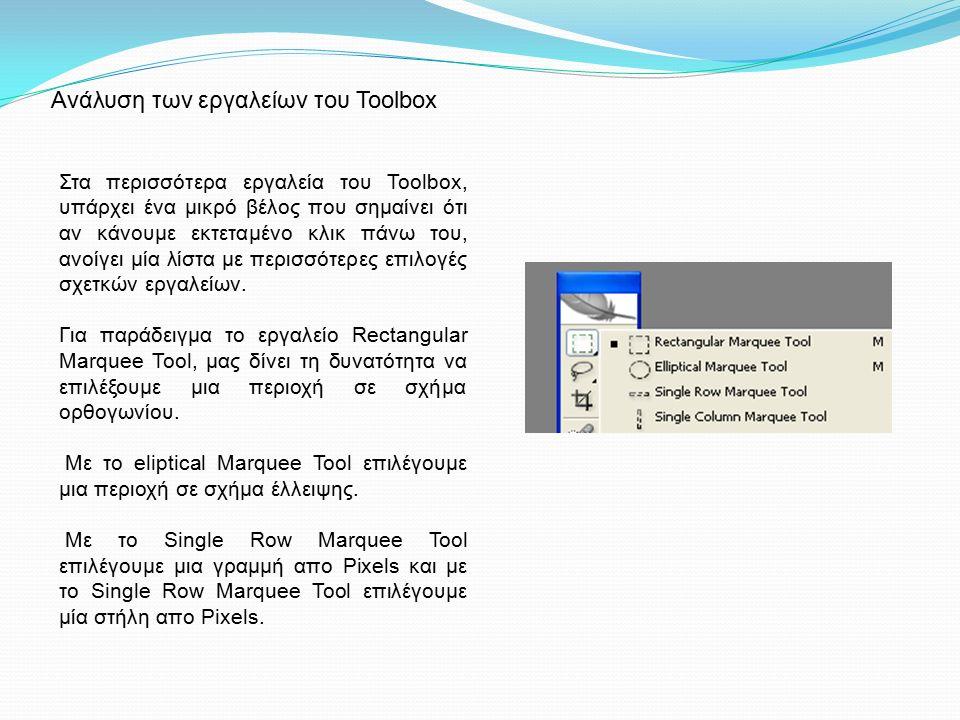 Ανάλυση των εργαλείων του Toolbox Στα περισσότερα εργαλεία του Toolbox, υπάρχει ένα μικρό βέλος που σημαίνει ότι αν κάνουμε εκτεταμένο κλικ πάνω του, ανοίγει μία λίστα με περισσότερες επιλογές σχετκών εργαλείων.