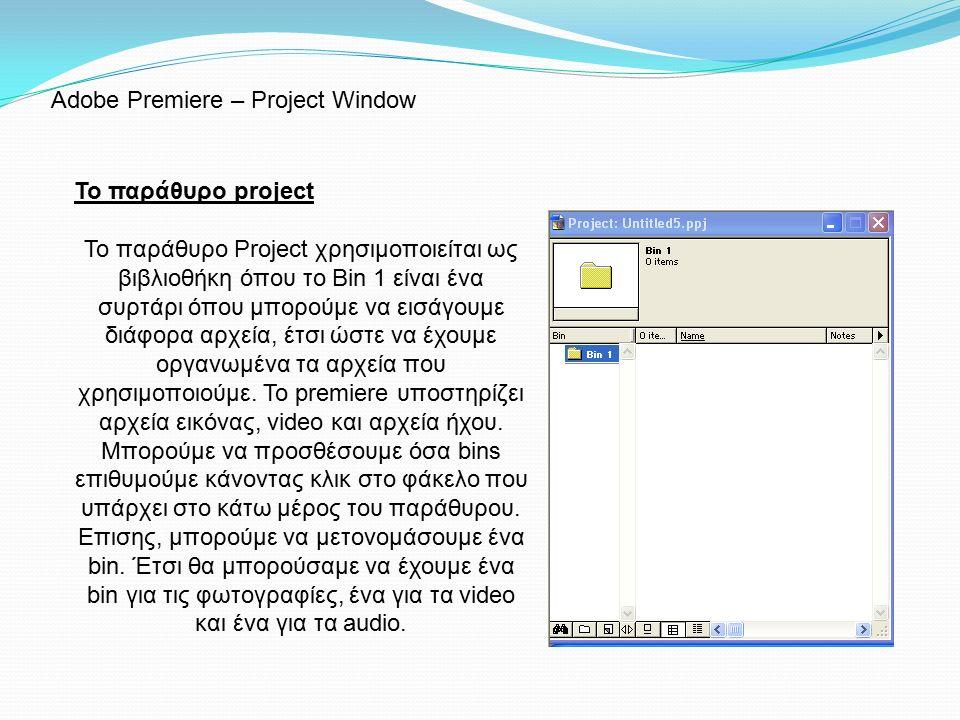 Το παράθυρο project To παράθυρο Project χρησιμοποιείται ως βιβλιοθήκη όπου το Bin 1 είναι ένα συρτάρι όπου μπορούμε να εισάγουμε διάφορα αρχεία, έτσι ώστε να έχουμε οργανωμένα τα αρχεία που χρησιμοποιούμε.