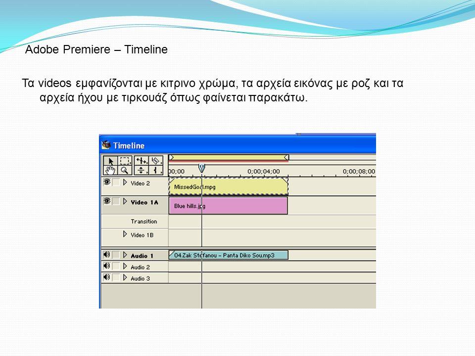 Τα videos εμφανίζονται με κιτρινο χρώμα, τα αρχεία εικόνας με ροζ και τα αρχεία ήχου με τιρκουάζ όπως φαίνεται παρακάτω. Adobe Premiere – Timeline