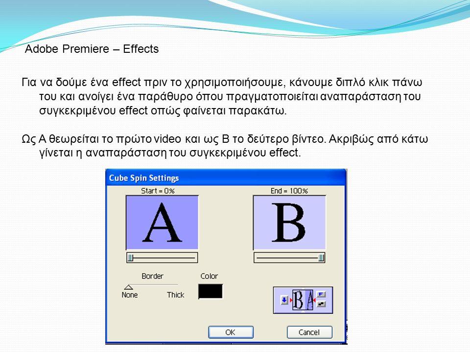 Adobe Premiere – Effects Για να δούμε ένα effect πριν το χρησιμοποιήσουμε, κάνουμε διπλό κλικ πάνω του και ανοίγει ένα παράθυρο όπου πραγματοποιείται