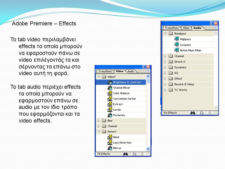 To tab video περιλαμβάνει effects τα οποία μπορούν να εφαροστούν πάνω σε video επιλέγοντάς τα και σέρνοντας τα επάνω στο video αυτή τη φορά. Το tab au