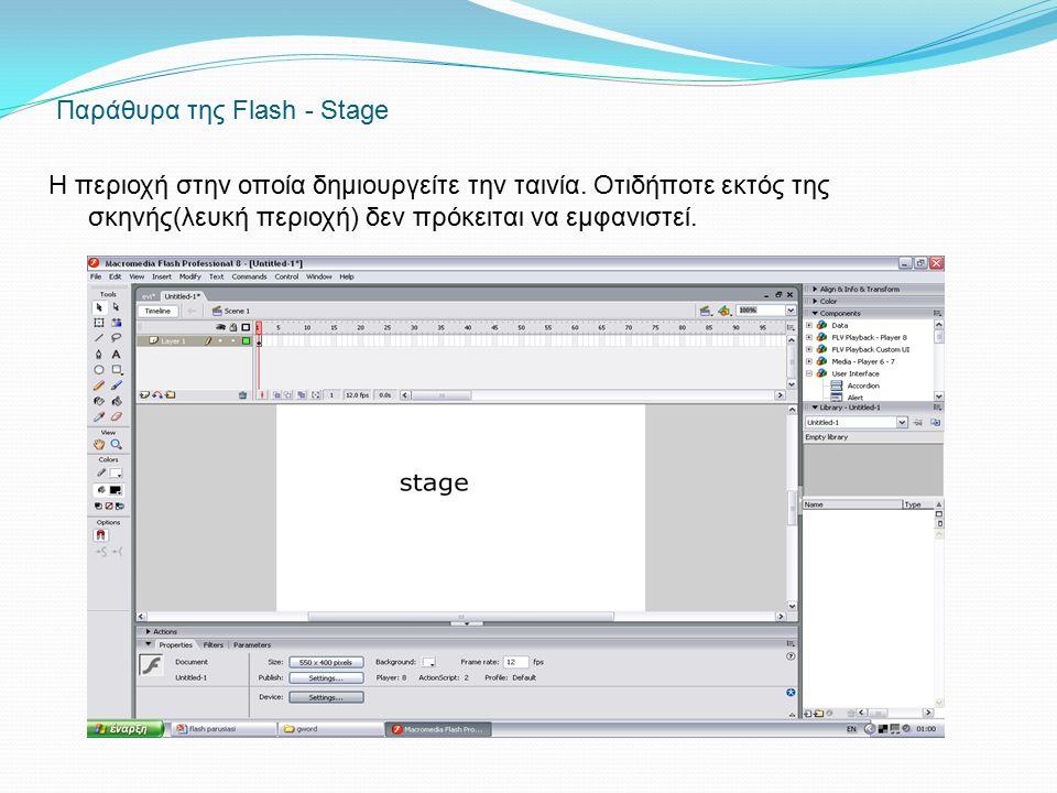 Παράθυρα της Flash - Stage Η περιοχή στην οποία δημιουργείτε την ταινία. Οτιδήποτε εκτός της σκηνής(λευκή περιοχή) δεν πρόκειται να εμφανιστεί.
