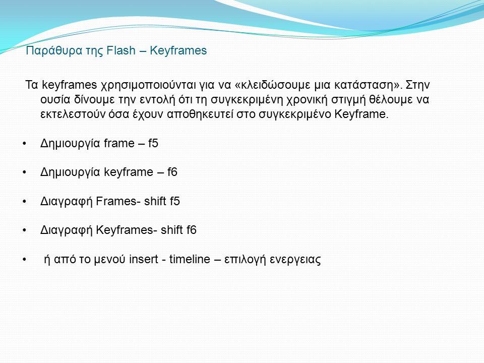 Παράθυρα της Flash – Keyframes Τα keyframes χρησιμοποιούνται για να «κλειδώσουμε μια κατάσταση». Στην ουσία δίνουμε την εντολή ότι τη συγκεκριμένη χρο