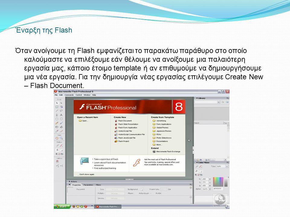 Έναρξη της Flash Όταν ανοίγουμε τη Flash εμφανίζεται το παρακάτω παράθυρο στο οποίο καλούμαστε να επιλέξουμε εάν θέλουμε να ανοίξουμε μια παλαιότερη εργασία μας, κάποιο έτοιμο template ή αν επιθυμούμε να δημιουργήσουμε μια νέα εργασία.