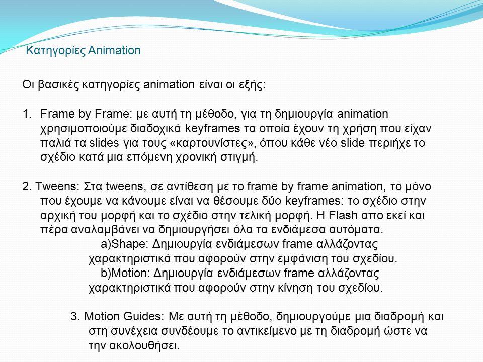 Κατηγορίες Animation Οι βασικές κατηγορίες animation είναι οι εξής: 1.Frame by Frame: με αυτή τη μέθοδο, για τη δημιουργία animation χρησιμοποιούμε διαδοχικά keyframes τα οποία έχουν τη χρήση που είχαν παλιά τα slides για τους «καρτουνίστες», όπου κάθε νέο slide περιήχε το σχέδιο κατά μια επόμενη χρονική στιγμή.