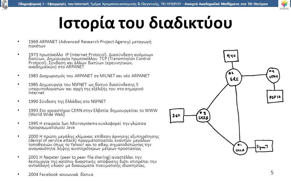 5 Πληροφορική Ι – Εφαρμογές του Internet, Τμήμα Χρηματοοικονομικής & Ελεγκτικής, ΤΕΙ ΗΠΕΙΡΟΥ - Ανοιχτά Ακαδημαϊκά Μαθήματα στο ΤΕΙ Ηπείρου Ιστορία του διαδικτύου 1969 ARPANET (Advanced Research Project Agency) μεταγωγή πακέτων 1973 πρωτόκολλο IP (Internet Protocol).