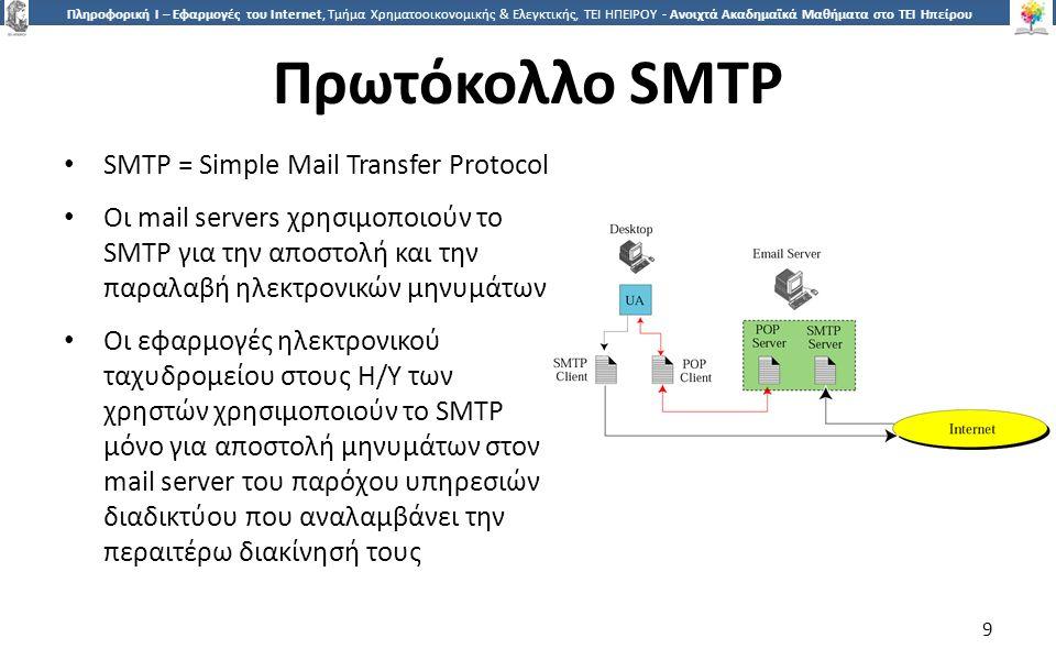 9 Πληροφορική Ι – Εφαρμογές του Internet, Τμήμα Χρηματοοικονομικής & Ελεγκτικής, ΤΕΙ ΗΠΕΙΡΟΥ - Ανοιχτά Ακαδημαϊκά Μαθήματα στο ΤΕΙ Ηπείρου Πρωτόκολλο SMTP SMTP = Simple Mail Transfer Protocol Οι mail servers χρησιμοποιούν το SMTP για την αποστολή και την παραλαβή ηλεκτρονικών μηνυμάτων Οι εφαρμογές ηλεκτρονικού ταχυδρομείου στους Η/Υ των χρηστών χρησιμοποιούν το SMTP μόνο για αποστολή μηνυμάτων στον mail server του παρόχου υπηρεσιών διαδικτύου που αναλαμβάνει την περαιτέρω διακίνησή τους 9