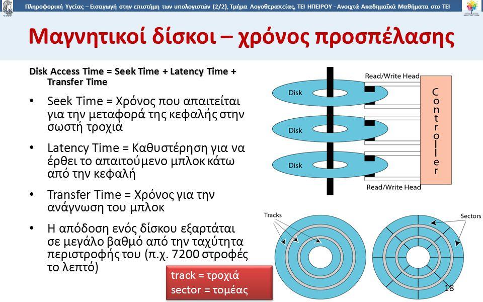 1818 Πληροφορική Υγείας – Εισαγωγή στην επιστήμη των υπολογιστών (2/2), Τμήμα Λογοθεραπείας, ΤΕΙ ΗΠΕΙΡΟΥ - Ανοιχτά Ακαδημαϊκά Μαθήματα στο ΤΕΙ Ηπείρου Μαγνητικοί δίσκοι – χρόνος προσπέλασης Disk Access Time = Seek Time + Latency Time + Transfer Time Seek Time = Χρόνος που απαιτείται για την μεταφορά της κεφαλής στην σωστή τροχιά Latency Time = Καθυστέρηση για να έρθει το απαιτούμενο μπλοκ κάτω από την κεφαλή Transfer Time = Χρόνος για την ανάγνωση του μπλοκ Η απόδοση ενός δίσκου εξαρτάται σε μεγάλο βαθμό από την ταχύτητα περιστροφής του (π.χ.