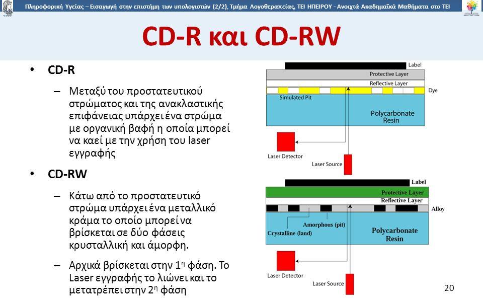 2020 Πληροφορική Υγείας – Εισαγωγή στην επιστήμη των υπολογιστών (2/2), Τμήμα Λογοθεραπείας, ΤΕΙ ΗΠΕΙΡΟΥ - Ανοιχτά Ακαδημαϊκά Μαθήματα στο ΤΕΙ Ηπείρου CD-R και CD-RW CD-R – Μεταξύ του προστατευτικού στρώματος και της ανακλαστικής επιφάνειας υπάρχει ένα στρώμα με οργανική βαφή η οποία μπορεί να καεί με την χρήση του laser εγγραφής CD-RW – Κάτω από το προστατευτικό στρώμα υπάρχει ένα μεταλλικό κράμα το οποίο μπορεί να βρίσκεται σε δύο φάσεις κρυσταλλική και άμορφη.
