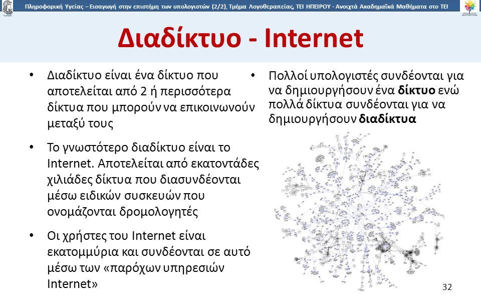 3232 Πληροφορική Υγείας – Εισαγωγή στην επιστήμη των υπολογιστών (2/2), Τμήμα Λογοθεραπείας, ΤΕΙ ΗΠΕΙΡΟΥ - Ανοιχτά Ακαδημαϊκά Μαθήματα στο ΤΕΙ Ηπείρου Διαδίκτυο - Internet Διαδίκτυο είναι ένα δίκτυο που αποτελείται από 2 ή περισσότερα δίκτυα που μπορούν να επικοινωνούν μεταξύ τους Το γνωστότερο διαδίκτυο είναι το Internet.