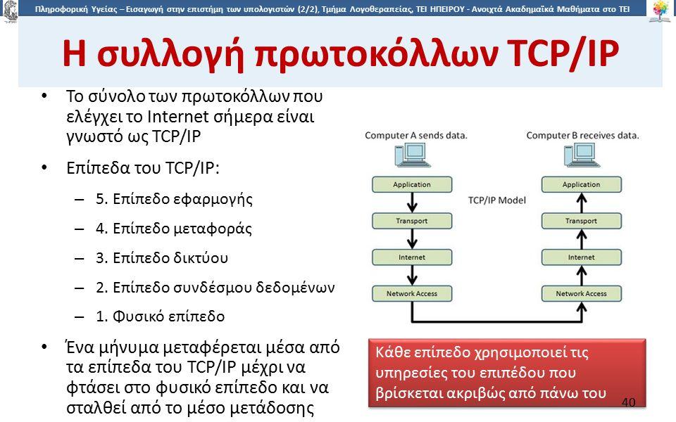 4040 Πληροφορική Υγείας – Εισαγωγή στην επιστήμη των υπολογιστών (2/2), Τμήμα Λογοθεραπείας, ΤΕΙ ΗΠΕΙΡΟΥ - Ανοιχτά Ακαδημαϊκά Μαθήματα στο ΤΕΙ Ηπείρου Η συλλογή πρωτοκόλλων TCP/IP Το σύνολο των πρωτοκόλλων που ελέγχει το Internet σήμερα είναι γνωστό ως TCP/IP Επίπεδα του TCP/IP: – 5.
