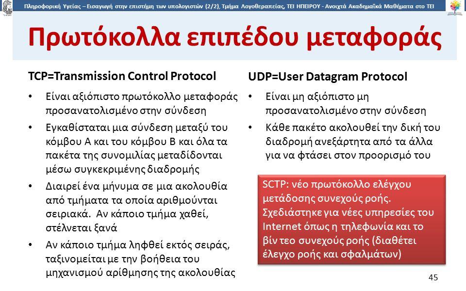 4545 Πληροφορική Υγείας – Εισαγωγή στην επιστήμη των υπολογιστών (2/2), Τμήμα Λογοθεραπείας, ΤΕΙ ΗΠΕΙΡΟΥ - Ανοιχτά Ακαδημαϊκά Μαθήματα στο ΤΕΙ Ηπείρου Πρωτόκολλα επιπέδου μεταφοράς TCP=Transmission Control Protocol UDP=User Datagram Protocol Είναι αξιόπιστο πρωτόκολλο μεταφοράς προσανατολισμένο στην σύνδεση Εγκαθίσταται μια σύνδεση μεταξύ του κόμβου Α και του κόμβου Β και όλα τα πακέτα της συνομιλίας μεταδίδονται μέσω συγκεκριμένης διαδρομής Διαιρεί ένα μήνυμα σε μια ακολουθία από τμήματα τα οποία αριθμούνται σειριακά.