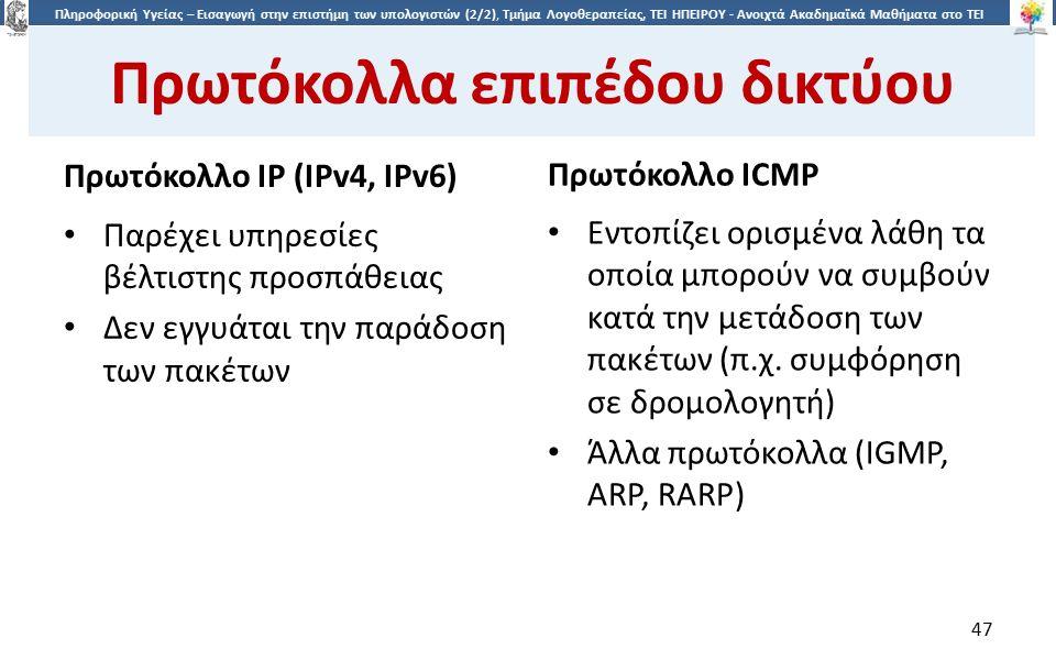 4747 Πληροφορική Υγείας – Εισαγωγή στην επιστήμη των υπολογιστών (2/2), Τμήμα Λογοθεραπείας, ΤΕΙ ΗΠΕΙΡΟΥ - Ανοιχτά Ακαδημαϊκά Μαθήματα στο ΤΕΙ Ηπείρου Πρωτόκολλα επιπέδου δικτύου Πρωτόκολλο IP (IPv4, IPv6) Πρωτόκολλο ICMP Παρέχει υπηρεσίες βέλτιστης προσπάθειας Δεν εγγυάται την παράδοση των πακέτων Εντοπίζει ορισμένα λάθη τα οποία μπορούν να συμβούν κατά την μετάδοση των πακέτων (π.χ.