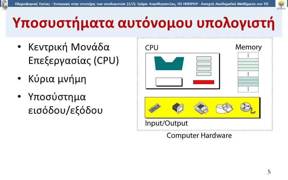5 Πληροφορική Υγείας – Εισαγωγή στην επιστήμη των υπολογιστών (2/2), Τμήμα Λογοθεραπείας, ΤΕΙ ΗΠΕΙΡΟΥ - Ανοιχτά Ακαδημαϊκά Μαθήματα στο ΤΕΙ Ηπείρου Υποσυστήματα αυτόνομου υπολογιστή Κεντρική Μονάδα Επεξεργασίας (CPU) Κύρια μνήμη Υποσύστημα εισόδου/εξόδου 5