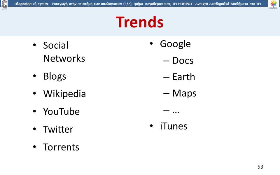 5353 Πληροφορική Υγείας – Εισαγωγή στην επιστήμη των υπολογιστών (2/2), Τμήμα Λογοθεραπείας, ΤΕΙ ΗΠΕΙΡΟΥ - Ανοιχτά Ακαδημαϊκά Μαθήματα στο ΤΕΙ Ηπείρου Trends Social Networks Blogs Wikipedia YouTube Twitter Torrents Google – Docs – Earth – Maps – … iTunes 53