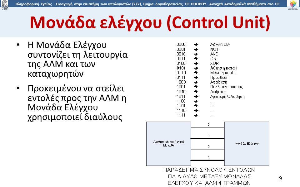 9 Πληροφορική Υγείας – Εισαγωγή στην επιστήμη των υπολογιστών (2/2), Τμήμα Λογοθεραπείας, ΤΕΙ ΗΠΕΙΡΟΥ - Ανοιχτά Ακαδημαϊκά Μαθήματα στο ΤΕΙ Ηπείρου Μονάδα ελέγχου (Control Unit) Η Μονάδα Ελέγχου συντονίζει τη λειτουργία της ΑΛΜ και των καταχωρητών Προκειμένου να στείλει εντολές προς την ΑΛΜ η Μονάδα Ελέγχου χρησιμοποιεί διαύλους 9